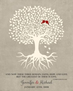 Tenth Anniversary  Wedding Tree Corinthians 13 Anniversary Gift Personalized For Michael
