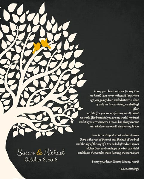 Couple Family Wedding Poem Tree Gift Personalized For Michael