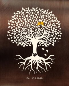 Faux Bronze Background Minimalist Tree Of Life Anniversary Gift Personalized For Michael