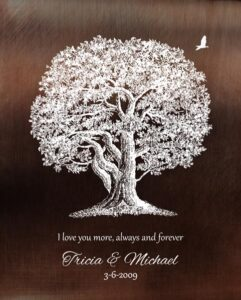 Gift for Wife, 10 Anniversary, Faux Bronze, Oak Tree – Personalized for Michael R.