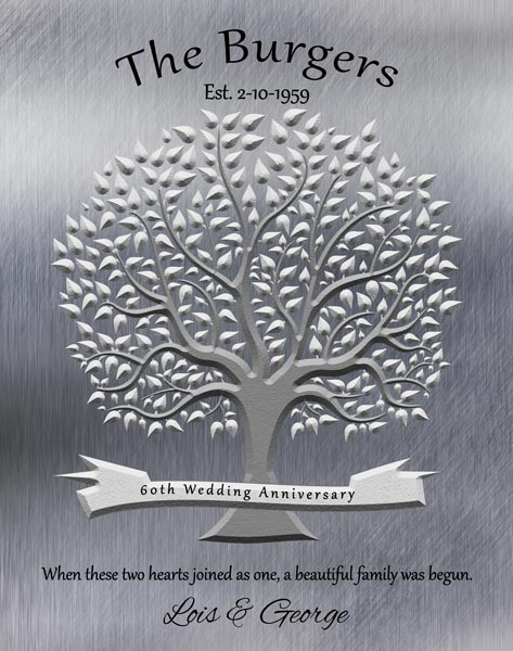 Gift for Parents, 40th Anniversary Gift,  Faux Shiny Tin Family Tree – Personalized for Michelle W.