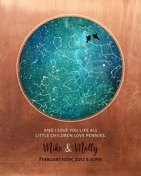 Gift for Couple, 7 Year Anniversary Gift, Personalized Custom Star Map, Celestial Map, Gift of Copper – Personalized for Molly E.