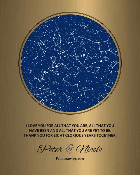 Gift for Husband, 8 Year Anniversary, Custom Star Map, Faux Bronze Gift, Celestial Map – Personalized for Nicole C.