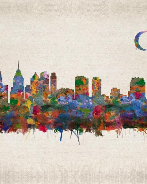Philadelphia Pennsylvania City Skyline Faux Vintage Background – Gift for Newlyweds – Personalized for Patricia B.