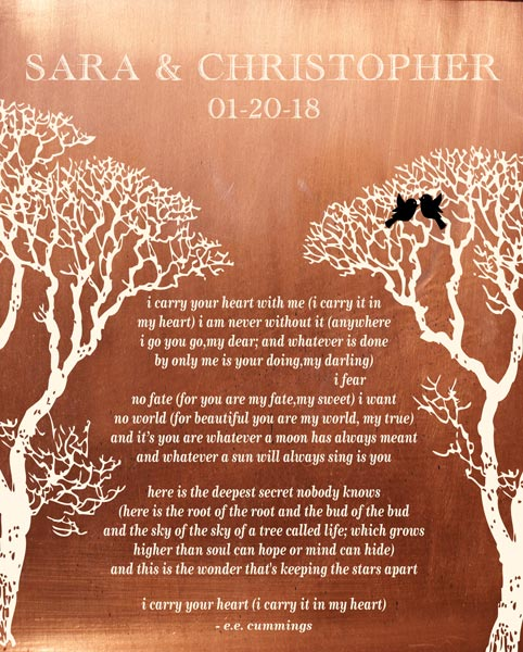 Wedding Vows Art Bare Trees Faux Copper Poem Gift Personalized For Rachel