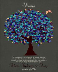 Read more about the article My Sister Shares A Part Of Me Blue Canopy Tree Friendship Sorority Gift Personalized For Susan