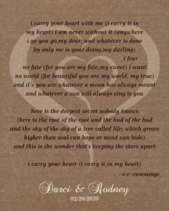 Wedding Anniversary Gift, EE Cummings, A Poem Etched, burlap background, rustic charm – Personalized for Suzanne N.