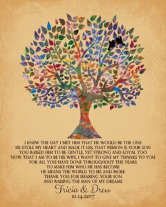 Mother Of The Groom Watercolor Family Tree Of Life Thank You Gift Personalized For Tricia