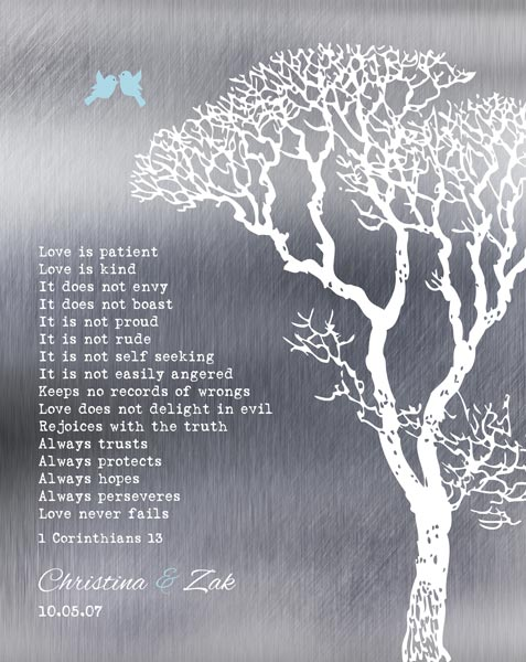 You are currently viewing Love Is Patient Shiny Bare Wedding Winter Tree Ten Year Anniversary Gift Personalized For Zak