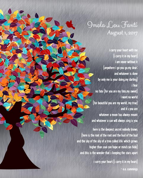 You are currently viewing I Carry Your Heart With Me Spring Tree Poem Shiny Tin Color Gift Personalized For Zoe