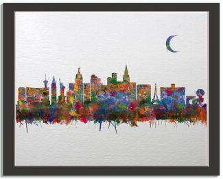 Las Vegas Nevada City Skyline Watercolor