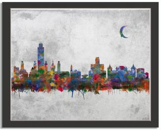 Albany New York City Skyline Watercolor Faux Stone Background #AD-1002