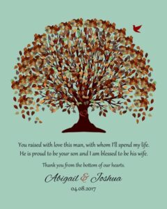 Groom's Mother Fall Canopy Leaves Seafoam Background You Raised With Love Gift – Personalized For Abigail