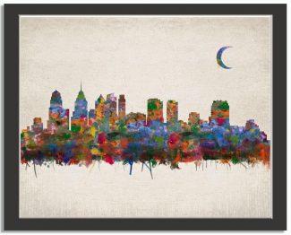 Philadelphia Pennsylvania City Skyline Watercolor Faux