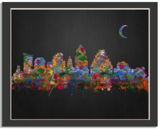 Austin Texas City Skyline Watercolor Brushed