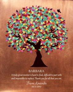 Mentor Gift Colorful Tree Faux Copper Background Personalized for Amanda