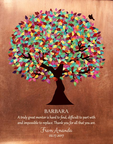 You are currently viewing Mentor Gift Colorful Tree Faux Copper Background Personalized for Amanda
