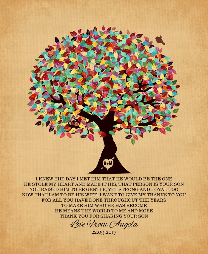 I Knew The Day Wedding Poem Oak Colorful Fruit Tree Gift – Personalized For Angela