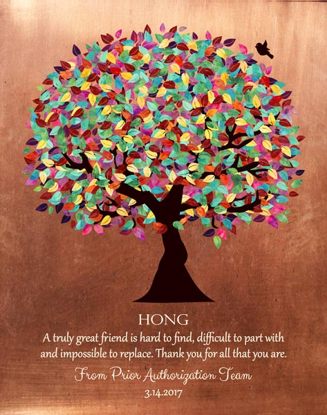 Mentor Colorful Tree Faux Copper Background Thank You Appreciation Acknowledgement Gift – Personalized For Annette