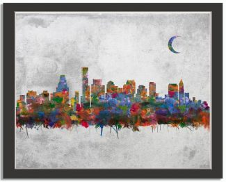 Boston Massachusetts City Skyline Watercolor Faux