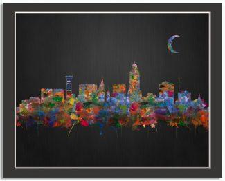 Lincoln Nebraska City Skyline Watercolor Brushed