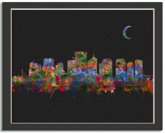 Richmond Virginia City Skyline Watercolor Faux