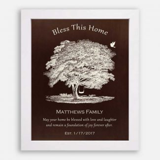 Personalized Gift For Home, A Gift For Neighbour, An Oak Tree With A Bird & A Swing, True Blessing Gift For New Home Owners, 1004