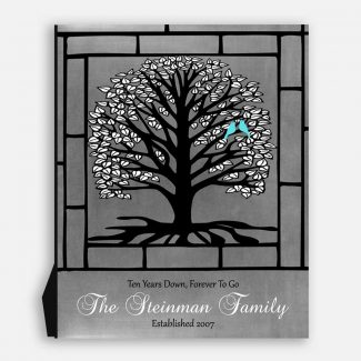 10 Year Anniversary Personalized Gift, Black