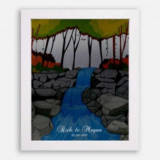 Best Anniversary Gift, Personalized Anniversary Gift, A Gift Depicting Nature, Trees, Waterfall, Birds, A True Gift For Your Beloved, 1019