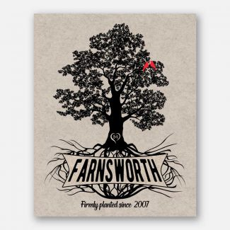 Personalized Family Gift, Oak Tree With Roots, Anniversary Gift, Handcrafted Gift, A Tree Of Life With Family Name & Date Of Wedding, 1034