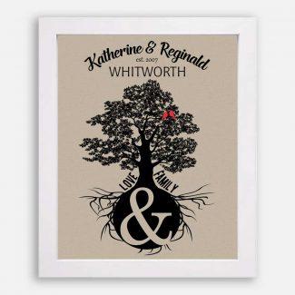Anniversary Gift, Personalized Family Tree, Oak