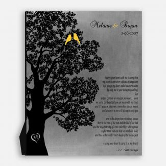Personalized Anniversary Gift, Love Gift, I Carry Your Heart, Beautifully Handcrafted Gift With A Tree, 2 Birds, Heart & Love Poem, 1037