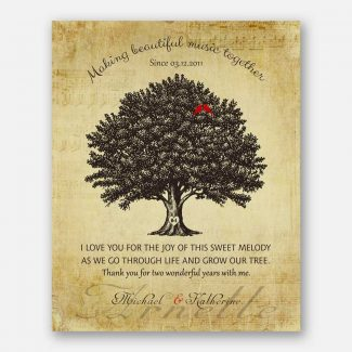 2 Year Anniversary Gift, Personalized 2nd Year Handcrafted Wedding Gift With Names & Date Of The Wedding, A Family Tree & Red Birds, 1044