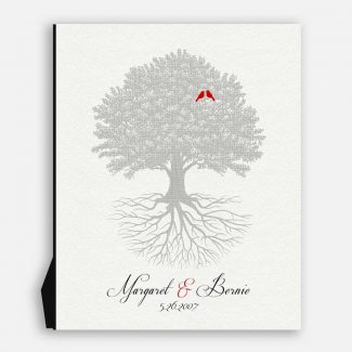 Wedding Anniversary Gift, A Rooted Family Tree With 2 Birds, Personalized Gift With Names & Date Of Wedding Appear Below Tree, 1048
