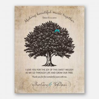 Pure 5 Year Anniversary Gift, Personalized 5th Year Wedding Gift With Names & Date, A Family Tree & Blue Birds Making Melodious Music, 1050