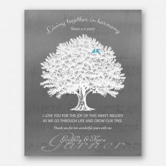 10th Year Anniversary Gift, Personalized 10th Year Wedding Gift With Names & Wedding Date, A Family Tree & Blue Birds Living Together, 1056