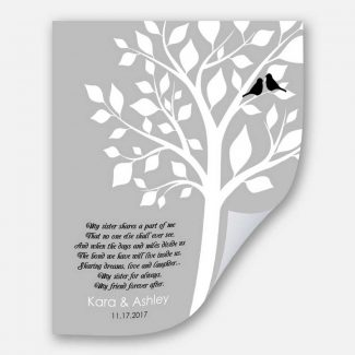 Personalized Gift for Sister, White Tree