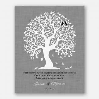 Thank You Gift For Parents, Personalized Gift For Parents, Handcrafted Gift Depicting A Family Tree With 2 Birds Symbolizing Kids, 1084