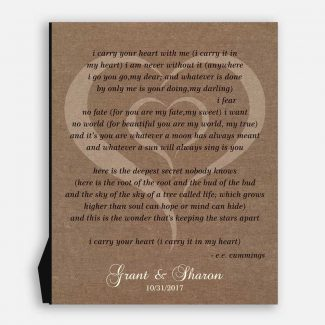 Best Anniversary Gift, A Poem Etched I Carry Your Heart By EE Cummings, Personalized Gift For Your Wedding Anniversary Celebration, 1097