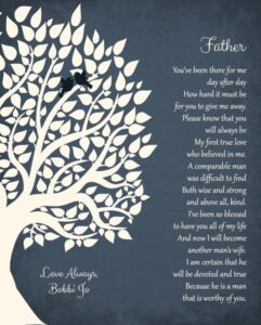 Thank You Gift For Dad Poem From Daughter on Wedding Day – Personalized for Bobbie Jo