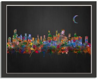 Chicago Illinois City Skyline Watercolor Brushed