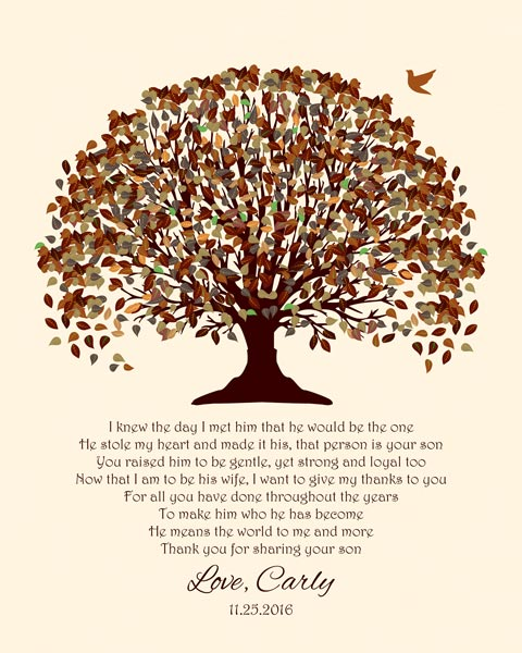 Mother of Groom Gift From Bride on Wedding Day Fall Canopy Tree – Personalized for Carly