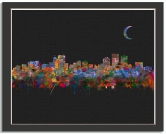 Anchorage Alaska City Skyline Watercolor Faux Black Pixel Background #AD-1009
