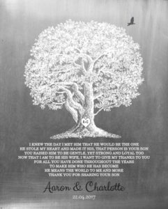 Bride Groom Parents Large Oak Tree Faux Aged Tin Family Tree Gift – Personalized For Charlotte