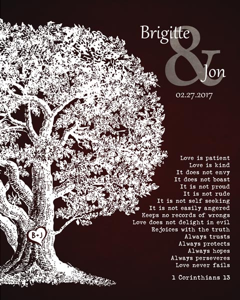 Oak Tree Poem Wedding Gift For Couple Winter Wedding Oak Tree Corinthians 13 – Personalized for Christine