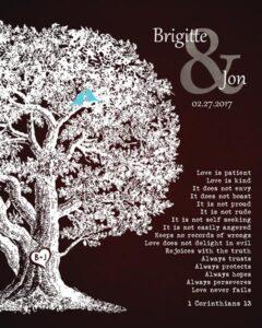 Oak Tree Gift For Ten Year Anniversary Corinthians 13 – Personalized for Brigitte & Jon