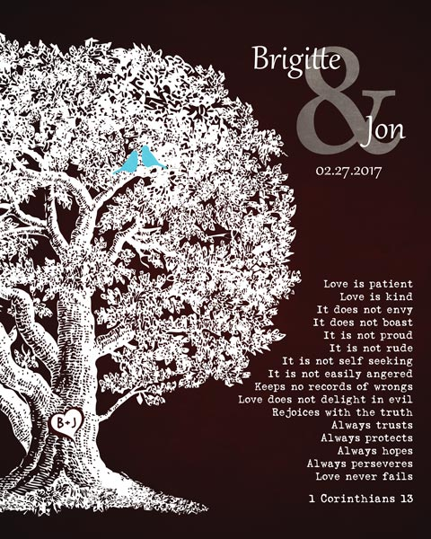 Oak Tree Gift For Ten Year Anniversary Corinthians 13 – Personalized for Brigitte & Jon