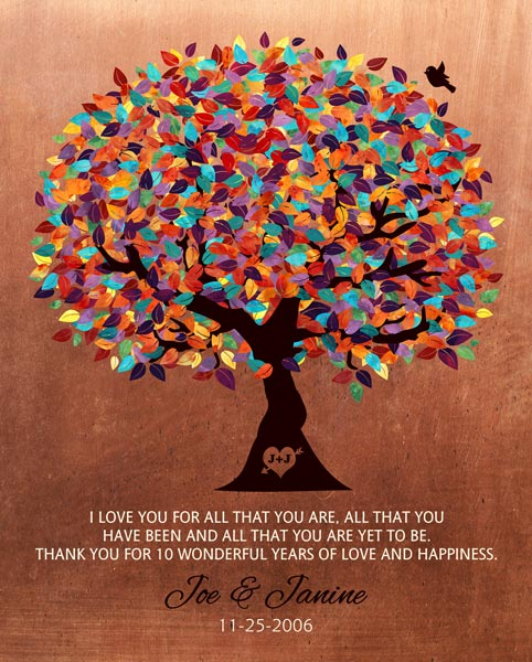 Seven Year Anniversary Gift Faux Copper Colorful Tree Love You For All That You Are – Personalized for Constance