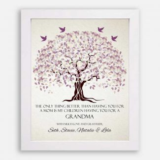Grandmother The Only Thing Better Pale Purple Canopy Leaves With Off White Background #CWA-1001