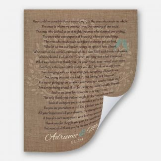 Mom and Dad Faux Burlap and